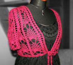 Szydełkowe prace: pattern of crochet bolero Lace Bolero, Girls Club, Crochet Lace, Free Pattern, Diy Projects, Knitting, Red, Crafts, Shawls