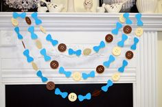 Paper Garland Buttons and Bow tie garland by DCBannerDesigns, $10.00