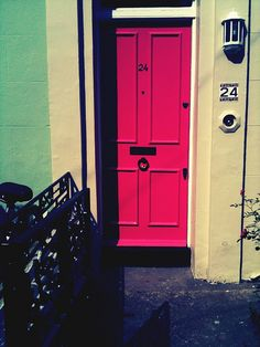 "fuchsia front door; Try California Paint's ""Fiery Fuchsia"" DEA101 for a similar look."