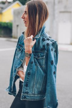 Embellished jean jacket and watch Jess Kirby