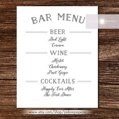 Bar Menu Liquor Menu Cocktail Menu Wedding Bar by JadorePaperie