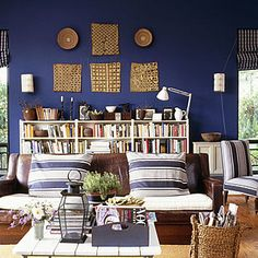Love deep navy paint, especially with this wide ticking!