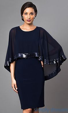 Knee Length Navy Blue Dress with Attached Cape