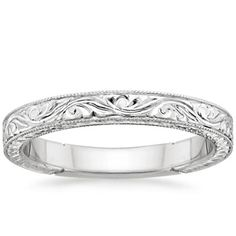 This is the ring I want! White Gold Hand-Engraved Laurel Ring from Brilliant Earth Platinum Wedding Rings, White Gold Wedding Bands, Wedding Rings Vintage, White Gold Rings, Vintage Rings, Wedding Jewelry, Gold Jewelry, Antique Rings, Jewelry Box