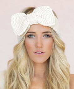Ivory Oversize Bow Knit Headband