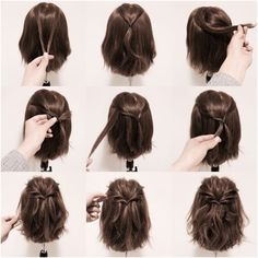 25 fast hairstyles for medium and long hair for every day. 25 fast hairstyles for medium and long hair for every day. 25 fast hairstyles for medium and long hair for every day. 25 fast hairstyles for medium and long hair for every day. Short Hair Styles Easy, Braids For Short Hair, Medium Hair Styles, Curly Hair Styles, Long Ponytails, Twisted Ponytail, Styling Short Hair Bob, How To Style Short Hair, Hairstyle Short Hair