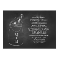 chalkboard love hearts mason jar wedding 13 cm x 18 cm invitation card