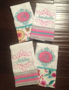 """Twin Baby Girl, personalized burp rags. """"Like"""" our Facebook page """"Sew Southern Stitches"""" for more items."""