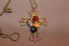 Gothic Cross with Skull and Flower
