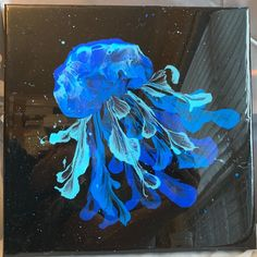 "Karen & Emily Watkins, Artists on Instagram: ""Finished, 12x12 canvas art...acrylic pour sealed with resin. Super serious title of this piece: ""Jellyfish in Space"" 😂 . #frontrowartstudio…"""