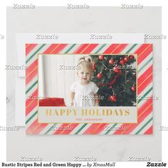 Rustic Stripes Red and Green Happy Holidays Photo Holiday Card Holiday Greeting Cards, Holiday Photo Cards, Holiday Photos, Happy Holidays, Christmas Holidays, Christmas Cards, Rustic Design, Smudging, Paper Texture