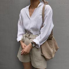Classic style white shirt khaki shorts