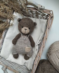 Knitted Doll Patterns, Knitted Dolls, Crochet Patterns Amigurumi, Crochet Dolls, Crochet Bear, Crochet Animals, Diy Crochet, Baby Crafts, Handmade Decorations