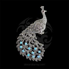Luke Stockley Marcasite & Blue Opal Peacock Brooch | Alexandra May Jewellery
