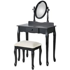 Black Fineboard Luxury Vanity Table Stool Wood Unique Shape Floral Crafted for Vanity Tables or Other Extravagant Tables with Artwork