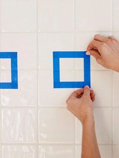 How to Paint Ceramic Tile - DIY Painting Bathroom Tile - Redbook. My bthrm tiles pink pls Painting Bathroom Tiles, Painting Ceramic Tiles, Wall Tiles, Ceramic Tile Bathrooms, Azulejos Diy, Shop Interiors, Cool House Designs, Tile Floor, Home Improvement