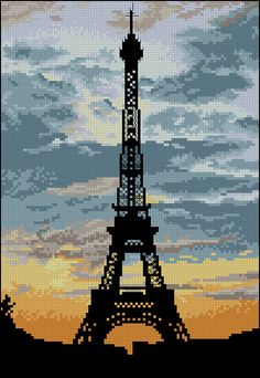 Free cross-stitch pattern 'La Tour Eiffel' Pattern Name: La Tour Eiffel Fabric: Aida 14, White 100w X 145h Stitches Size(s): 14 Count,