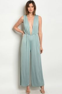 3ad5d1d2a548 Our jumpsuit is sexy with a plunging neckline elastic waist for comfort and wide  leg for