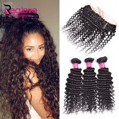 Malaysian Deep Wave With Closure 4 Bundles 13x4 Ear to Ear Lace Frontal Closure With Bundles Malaysian Virgin Hair With Closure