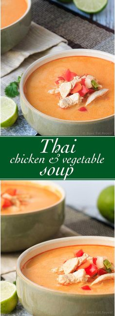 Thai Chicken and Vegetable Soup - Easy to make and ready in 30 minutes, this Thai chicken and vegetable soup is the perfect dinner! #30MinuteThursday