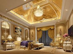 Interior, Luxury Classical Bedroom Design With Marvelous Gold Ceiling Gracefulness Pedant Lamp Fabulous Curtain Amazing Headboard Wonderful Mounted Mirror Awesome Bar Stools: Luxurious Interior Design Columns with Exotic Rome–Italy Taste