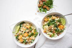 Romige+kokosrijst+met+spinazie,+zoete+aardappel,+kikkererwten+en+noten