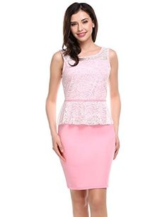 Meaneor Women Sexy Stretch Peplum Bodycon Lace Crochet Mini Pencil Dress Pink M * Click image for more details-affiliate link.