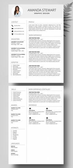 Resume Template MS Word - Professional CV Template - Creative Resume Design - Professional Resume Design - Resume Instant Download