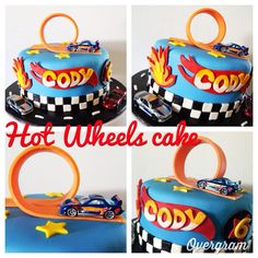 Hot Wheels cake Hot Wheels Cake, Hot Wheels Party, Wheel Cake, Thomas Cakes, Hot Wheels Birthday, Car Themed Parties, Race Car Party, Baby Boy First Birthday, Cars