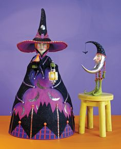 """- Patience Brewster Halloween. - Skillfully hand-painted and crafted of paper mache and stone resin. - 31"""" x 16"""" - Note: Bat Moon shown on right sold separately. - Imported."""