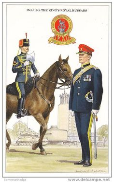 The King's Royal Hussars Lancee Corporal & Regimental Sergeant Major by Douglas N. British Army Uniform, British Uniforms, British Soldier, British Army Regiments, English Army, Military Cards, British Armed Forces, Imperial Army, Military Pictures