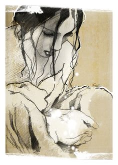 """""""For some reason he'd drawn Bella's long, dark hair in a chignon, with wisps tickling her cheeks.""""          Excerpt From: J. R. Ward. """"J.R. Ward The Black Dagger Brotherhood Novels 5-8."""" penquin, 2010-03-01.  (Artist Crysse)"""