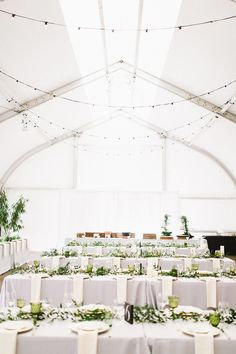 Green and white wedding decor | Conservatory of Flowers San Francisco wedding reception | Tented wedding reception ideas