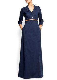 Mango - Navy long sleeved maxi dress
