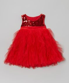 Red Sequin Tulle Dress