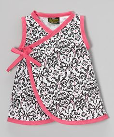 This Black & Pink Damask Wrap Dress - Infant by Conscious Children's Clothing is perfect! #zulilyfinds