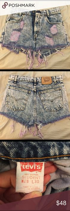 Vintage Levi Shorts The cutest and softest shorts. I love these so much. Frays are all dyed a lilac purple color. High waisted. Levi's Shorts Jean Shorts