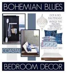 """""""Bohemian Blues Coastal Bedroom Decor"""" by latoyacl ❤ liked on Polyvore featuring interior, interiors, interior design, home, home decor, interior decorating, TemaHome and bedroom"""
