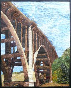 Pasadena Colorado Street Bridge made by Sue Rasmussen #route66 #pieced #artquilt #architecture #quilt