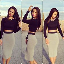 New Womens Sexy Crop Top High Waisted Midi Bodycon Skirt Two Piece Set Dress