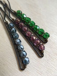 Crystal Bead Bobby Pin Trio. Green Purple and Navy Hair Barrettes. Teen Accessory Women Hair Clip Glass Beaded Hair Jewelry Valentines Gift by MindyReneeCreation on Etsy https://www.etsy.com/listing/503559755/crystal-bead-bobby-pin-trio-green-purple