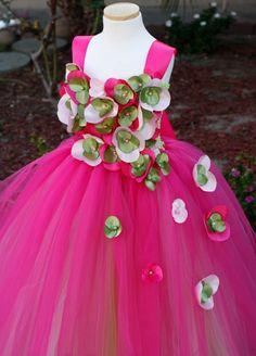 Fuchsia n Green XO Flower Girl Tutu Dress