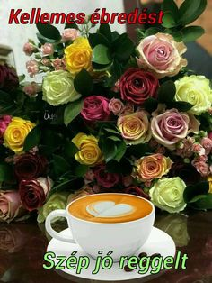 Coffee and roses - perfect! Coffee Cafe, Hot Coffee, Good Morning Coffee Gif, Coffee Heart, Beautiful Rose Flowers, Tea Cup Set, Beautiful Posters, Turkish Coffee, Belle Photo