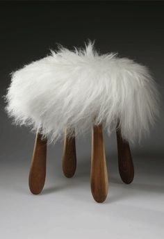 """Fuzzy"" the lambskin stool. Designed by Sigurður Már Helgason, iceland :) Scandinavian Furniture, Scandinavian Design, Nordic Design, Fuzzy Stool, Funky Furniture, Furniture Design, Muebles Art Deco, Multipurpose Furniture, Soft Seating"