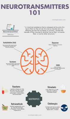 Nootropics and Neurotransmitters 101 an infographic. Get a better understanding of nootropics by learn how nootropics interact with neurotransmitters. nootropicdaily.com/
