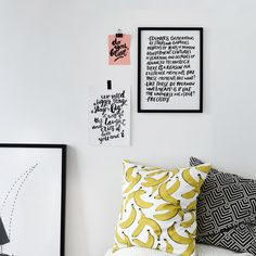 Interior. Monochrome interior. Scandinavian home. Wall gallery. Print design. Graphic design. Lettering. Typography. Home inspiration. Home styling. Style. Lifestyle. Banana print