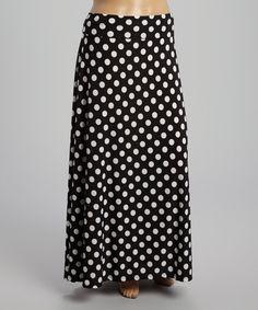 Love this Black & White Polka Dot Maxi Skirt - Plus on #zulily! #zulilyfinds