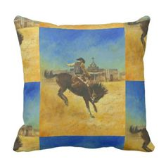 Vintage Bucking Horse Throw Cushion - home gifts ideas decor special unique custom individual customized individualized
