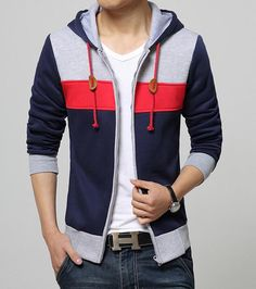 Men's casual #blue long sleeve hooded #jacket zip style multi color, front side insert pockets, Zip fastenings on the front.