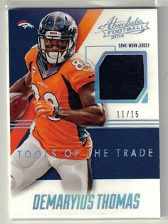 2014 Absolute Football Demaryius Thomas Game Won Patch Card  11 15 Den.  Broncos  NFLDenverBroncos 112960576
